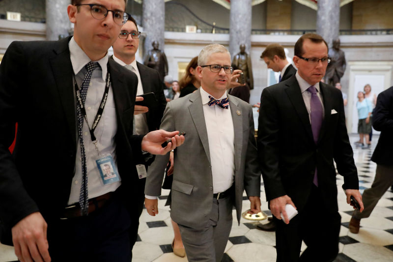 © Reuters. Rep. Patrick McHenry (R-NC) speaks with reporters about the Republican led immigration reform effort on U.S. Capitol in Washington