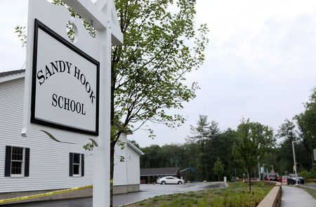 FILE PHOTO: The sign for the new Sandy Hook Elementary School at the end of the drive leading to the school is pictured in Newtown