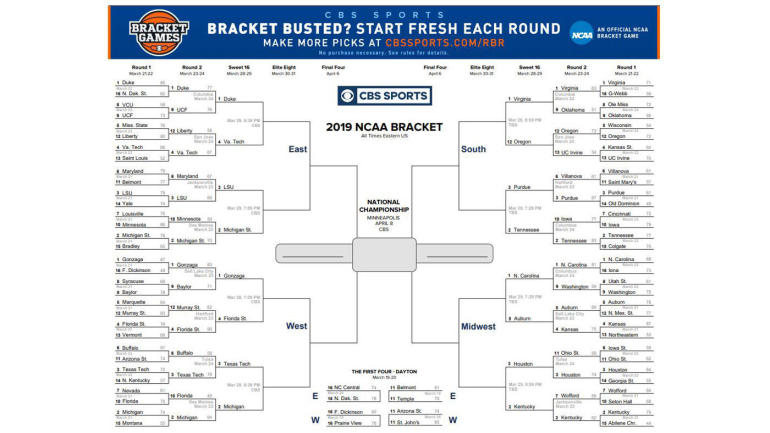 image about Sweet 16 Printable Bracket known as NCAA bracket 2019: Printable March Insanity bracket, NCAA