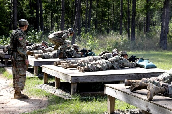 Soldiers with 15th Cavalry Regiment, one-station unit training for cavalry scouts with the Maneuver Center of Excellence, zero their M4 carbines at Fort Benning, Ga., in August. (Markeith Horace/Army)