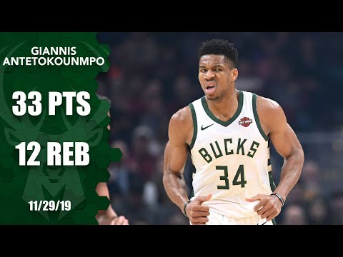 Giannis Antetokounmpo posts 33 points and 12 rebounds vs