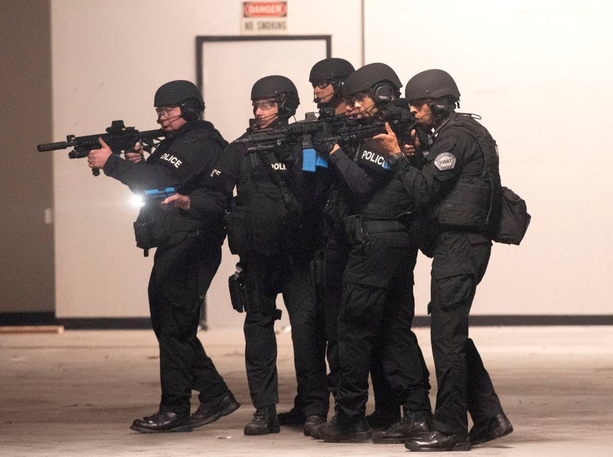 West (Orange) County SWAT officers run through a training exercise in Fountain Valley on Wednesday, Oct. 16, 2019. (Photo/Paul Rodriguez)