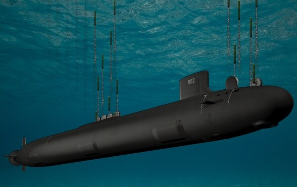 A rendered image of the Virginia Block V attack submarine, destined to change the submarine community. (Courtesy of General Dynamics)