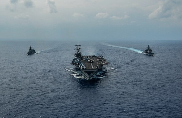The aircraft carrier Ronald Reagan steaming in the Pacific in October. (U.S. Navy photo by MC3 Codie Soule)