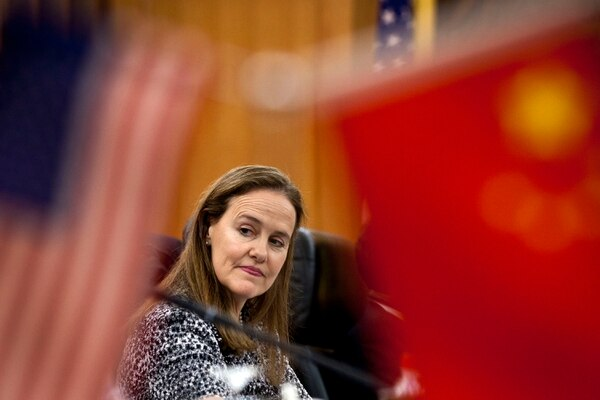 Then-U.S. Under Secretary of Defense for Policy Michele Flournoy arrives for a bilateral meeting with her Chinese counterpart on Dec. 7, 2011, in Beijing, China. (Andy Wong/Getty Images)