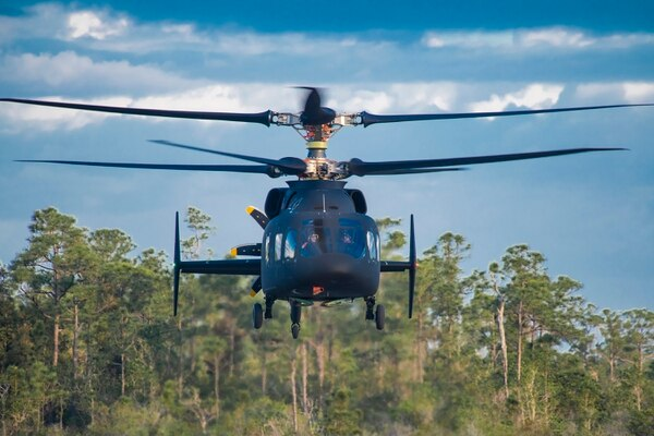 The SB-1 Defiant flew for more than 30 minutes in its first flight in Florida on March 21, 2019. (Courtesy of Sikorsky-Boeing)