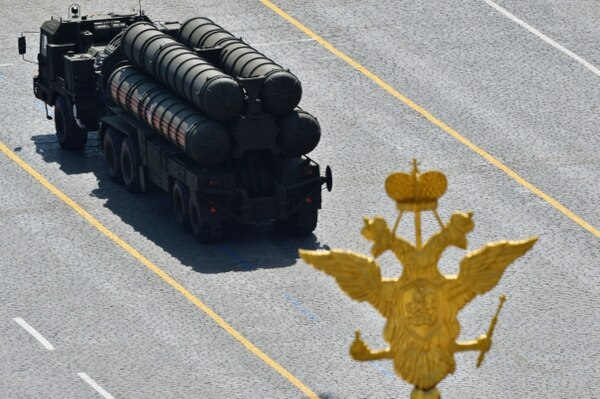 A Russian S-400 air defense system drives through Red Square during the Victory Day military parade in Moscow on May 9, 2015. (RIA Novosti/AFP via Getty Images)