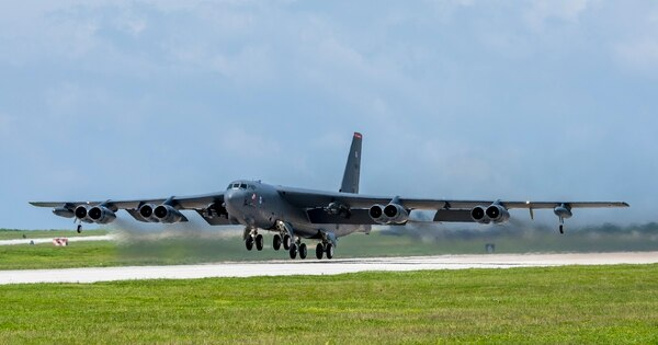 A U.S. Air Force B-52H Stratofortress bomber takes off from Andersen Air Force Base, Guam, for exercise Pitch Black on Aug. 6, 2018. (Airman 1st Class Christopher Quail/U.S. Air Force)