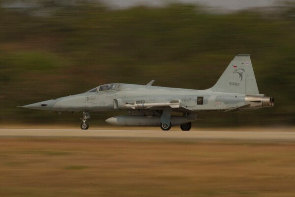 A Royal Thai Air Force F-5 Tiger II lands at Wing One Royal Thai Air Force Base, Nakhon Ratchasima, Thailand, during exercise Cobra Gold 2013. (Lance Cpl. Todd F. Michalek/U.S. Marine Corps)
