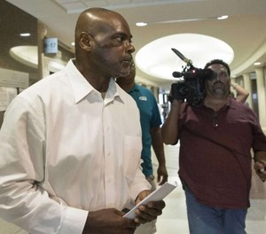 This Aug. 26, 2019 file photo shows former Houston Police Department narcotics officer Gerald Goines leaving a courtroom after appearing before Harris County Judge Frank Aguilar. (Photo/TNS)