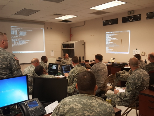 The Pentagon provided funding for equipment for U.S. Cyber Command's so-called hunt forward teams that deploy to other nations and help defend their networks. (Maj. Robert Felicio/Army National Guard)
