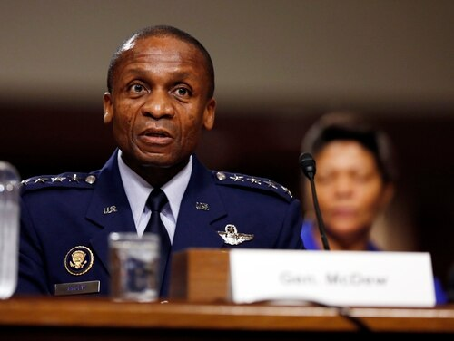 Air Force Gen. Darren McDew attends a nomination hearing before the Senate Armed Services Committee on Capitol Hill in Washington, D.C., on Tuesday, July 14, 2015. Gen. Paul Selva was nominated to be Vice Chairman of the Joint Chiefs of Staff and Gen. McDew was nominated to be the commander of U.S. Transportation Command.