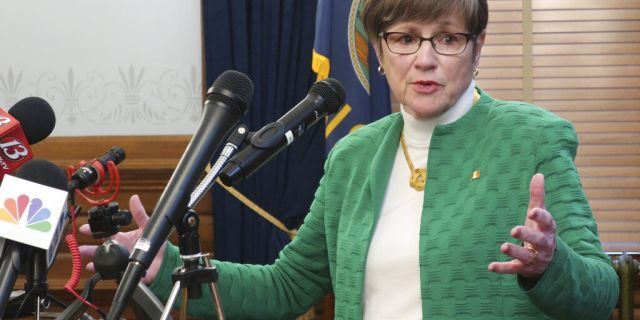 Kansas Gov. Laura Kelly addresses reporters March 17, 2020, at the Statehouse in Topeka, Kan. (Associated Press)